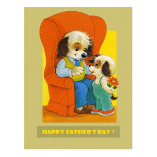 Happy Father's Day. Funny Puppy Postcards