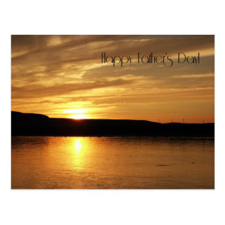 Happy Father's Day Golden Sunset Postcard