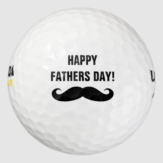 Happy Fathers Day golf balls with funny mustache
