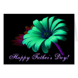 Happy Father's Day Green Blue Daisy V Greeting Card