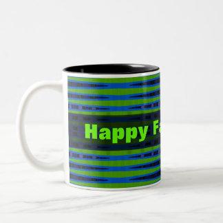 Happy Fathers Day green blue Two-Tone Coffee Mug