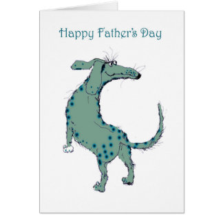 Happy Father's Day, green spotty dog, humour Card