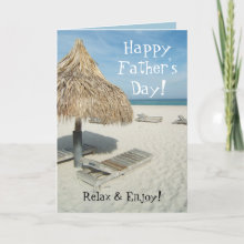 Happy Father's Day Greeting Card - Add your custom text inside this cute Happy Father's Day Greeting Card. Ocean beach cabana design. Dad, relax and enjoy father's day!