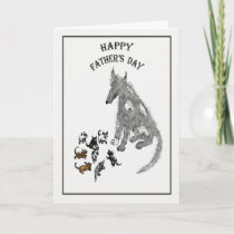 Happy Father's Day , grey dog and pups, funny Card