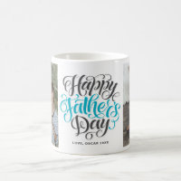 Happy Father's Day Hand Lettering Photo Collage Coffee Mug