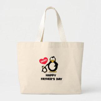 happy fathers day heart penguin jumbo tote bag