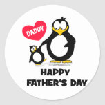happy fathers day heart penguin round sticker