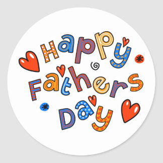 Happy Fathers Day Holiday Text Classic Round Sticker