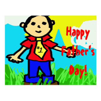 """Happy Father's Day in """"Crayon"""" Postcard"""