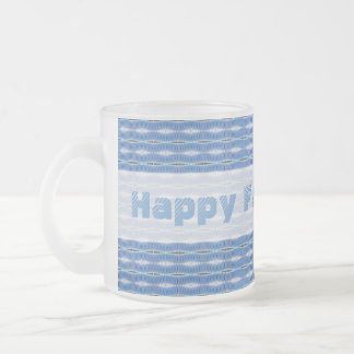 happy fathers day light blue pattern frosted glass coffee mug