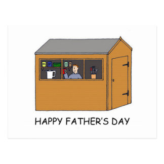 Happy Father's Day, man in his shed. Postcard