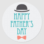 Happy Father's Day Modern Polka Dots Design Classic Round Sticker