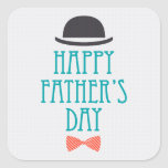 Happy Father's Day Modern Polka Dots Design Square Stickers