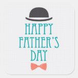 Happy Father's Day Modern Polka Dots Design Square Sticker