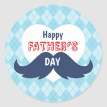 Happy Father's Day Mustache and Heart Classic Round Sticker