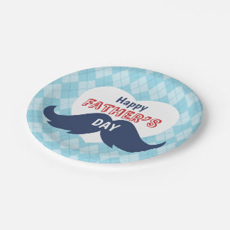 Happy Father's Day Mustache and Heart 7 Inch Paper Plate