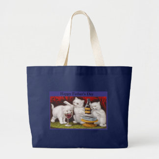 Happy Fathers Day Naughty Kittens Large Tote Bag