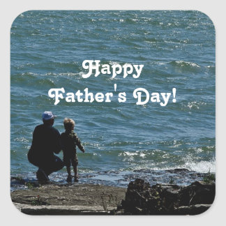 Happy Father's Day Ocean Square Sticker