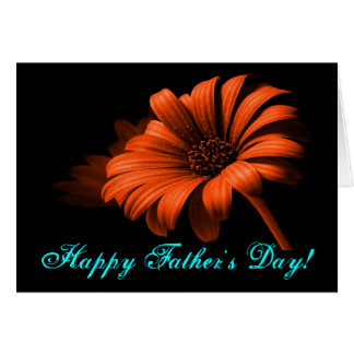 Happy Father's Day Orange Red Daisy V Greeting Card