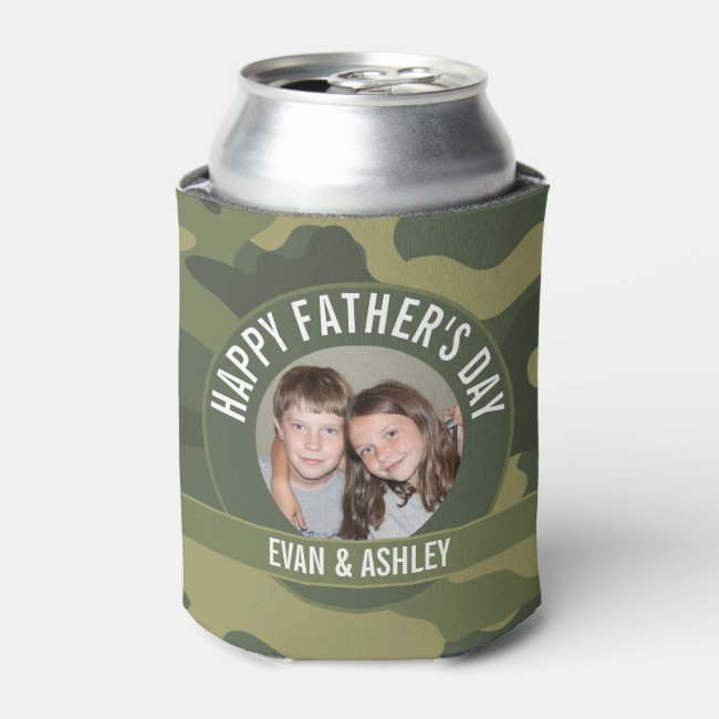 Happy Father's Day - Photo Camouflage Green Can Cooler