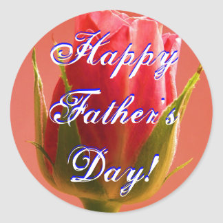 Happy Father's Day Pink Rose Classic Round Sticker