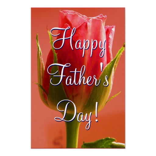 Happy Father's Day Pink Rose Posters