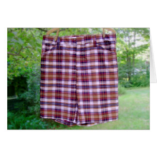 Happy Father's Day Plaid Shorts Greeting Card