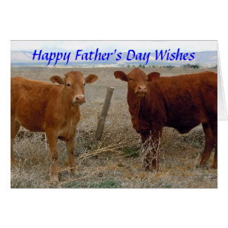 Happy Father's Day - Red Cow Animal Humor - Ranch Card