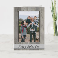 Happy Father's Day Rustic Gray Wood Photo Card