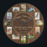"""Happy Fathers Day Rustic Wood Photo Template Large Clock<br><div class=""""desc"""">Father's Day is the perfect time to tell him how much his family loves him... This masculine rustic wood, family photo collage template hold 12 photos of the people who love Dad the most! ~ All parts of this handsome design are fully customizable. Just go to the dropdown menu under...</div>"""