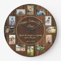 Happy Fathers Day Rustic Wood Photo Template Large Clock