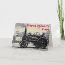 Happy Father's Day sepia card with a Steam Tractor