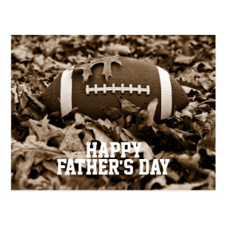Happy Father's Day Sepia Football Postcard