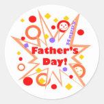 Happy Father's Day Splash Round Sticker