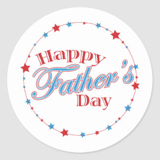 Happy Father's Day Stars Classic Round Sticker