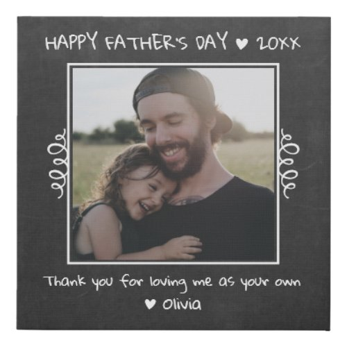 Happy Fathers Day Step Dad Rustic Chalkboard Faux Canvas Print