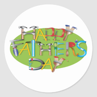 Happy Fathers Day Round Stickers