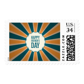 Happy Father's Day Sunburst  in Orange and Blue Postage Stamp