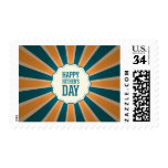 Happy Father's Day Sunburst  in Orange and Blue Stamp