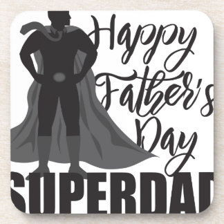 Happy Fathers Day Super Dad Illustration Beverage Coaster