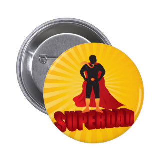 Happy Fathers Day Super Dad Sun Rays Illustration Button