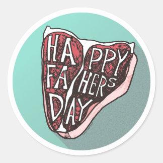 Happy Father's Day T-Bone Steak Classic Round Sticker