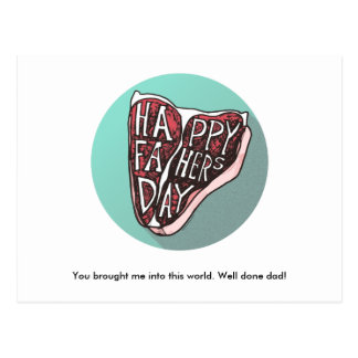 Happy Father's Day T-Bone Steak Post Card