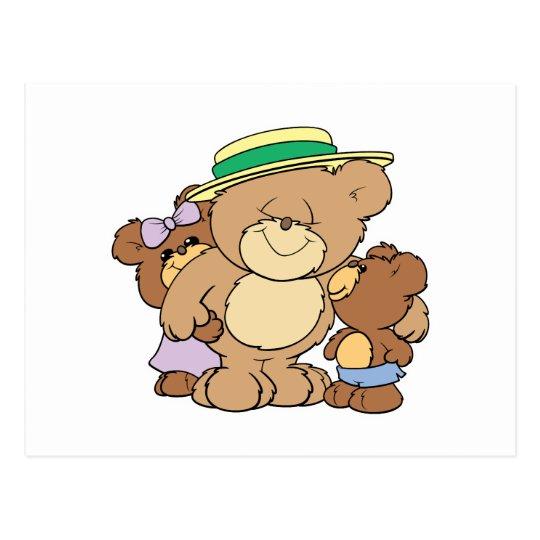 happy fathers day teddy bears design postcard