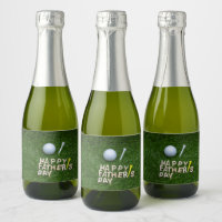 Happy father's day to golfer with golf ball champagne label