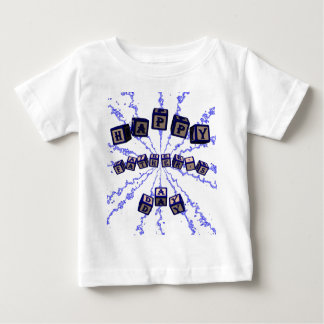 Happy Father's Day toy blocks in blue. Baby T-Shirt