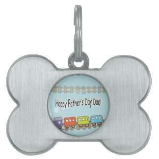 Happy Fathers Day Train Pet Name Tag