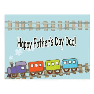 Happy Fathers Day Train Postcard
