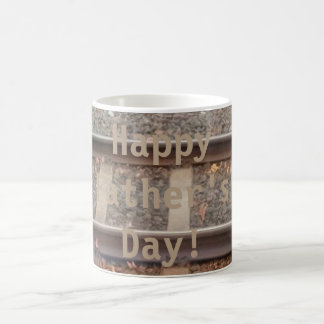 Happy Father's Day Train Tracks, Railroad Mug