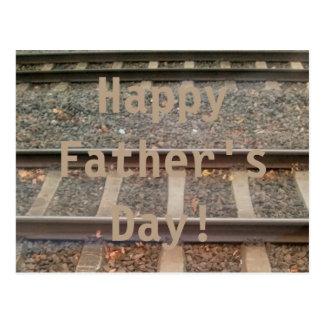 Happy Father's Day Train Tracks, Railway Postcard